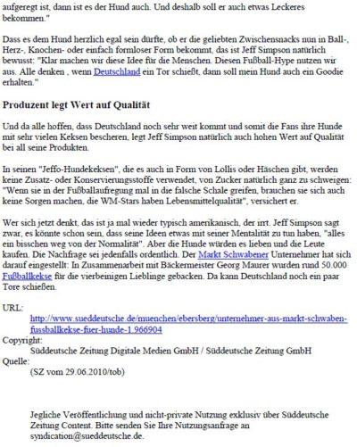 Presseschau Süddeutsche Zeitung EBE 28.06.2010 Teil 2