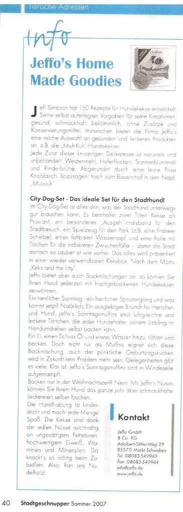 Presseschau Stadtgeschnupper Sommer 2007