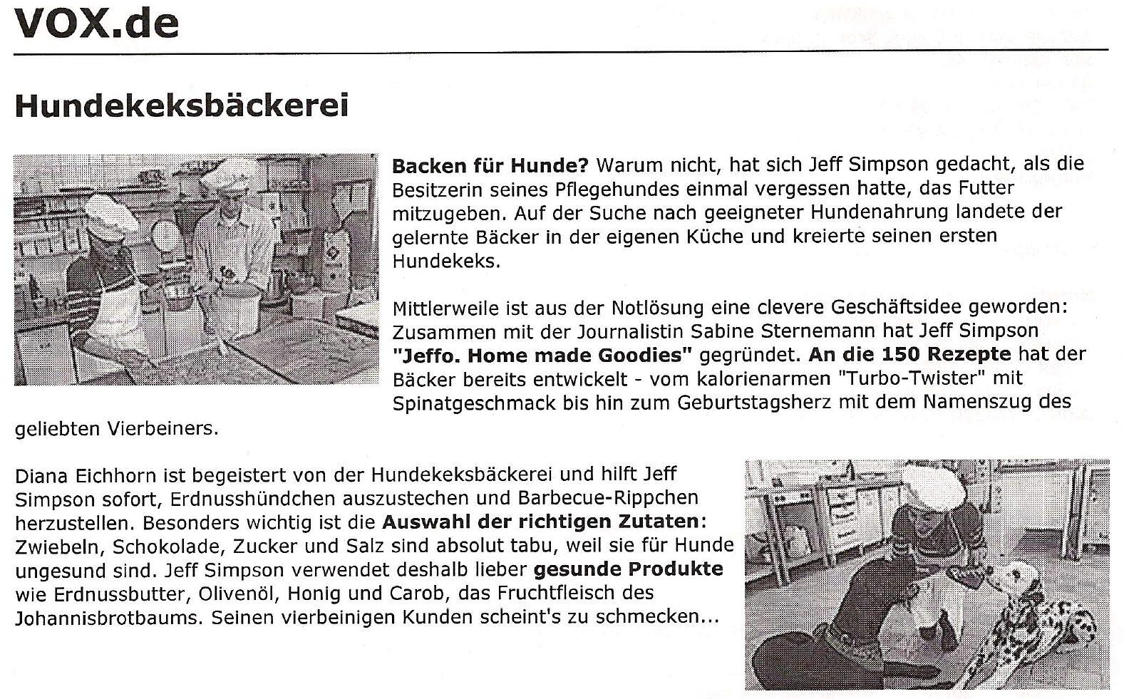 Presseschau Vox Fernsehen Hundekeksbäckerei