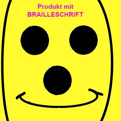 Jeffo Symbol für Produkte mit Braille Schrift für Sehbehinderte und Blinde
