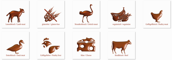 Jeffo Symbole Produkteigenschaften Zutaten Inhaltsstoffe Rohstoffe Hundekeks Hundekuchen